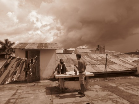 Peycho and Misha, kickin' it at a rustic rooftop in Iquitos