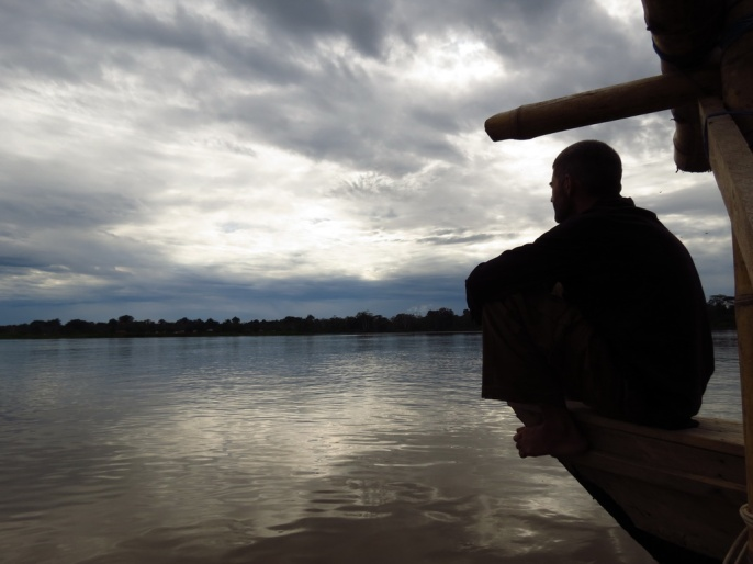 Misha watching as we are approaching the Amazon River
