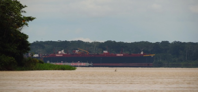 From afar, we see this giant oil tanker and conclude that this most be the confluence with the Amazon. The shot is taken with 35x zoom and revealed what our eyes could barely see: THE AMAZON
