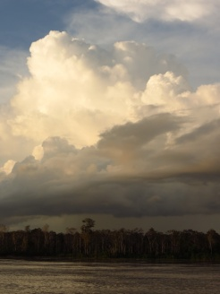 The many interfering weather systems create dramatic cloud formations across Amazonia