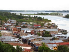 The view from Grippas tower, overlooking the confluence of the Ampiyacu River and the Amazon River