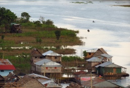 Local fishermen are heading out to their nets on the outskirts of Pebas