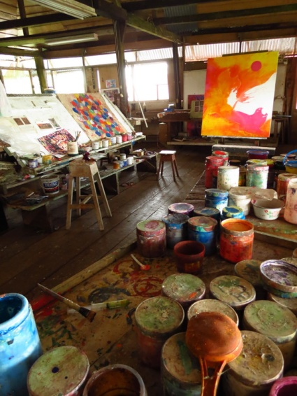 The artists studio, with glorious views overlooking the amazon canopy