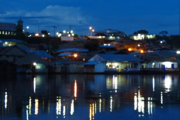 Pebas waterfront, by night