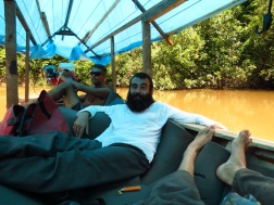 Cruising upstream, kicking it in the boat, enjoying the close proximity to the jungle and the fantastic views. This is one our expedition upstream the Ampiyacu to meet the Bora People