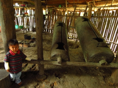 """These hollow pieces of wood functions as deep-bass drums during ceremonies. Traditionally, each member of the tribe had his own sound-combination and the Curaca could summon him to the Maloka by drumming his """"code""""."""
