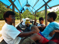 The three young Bora men, that took us on a fishing-hunting expedition.