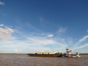 Cargo barges, more and more common on the river