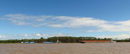 Cargo barges, transiting on the Amazon. More and more civilization as we got further down the Amazon.