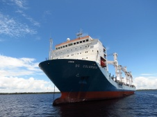 Large ships anchored in front of Manaus