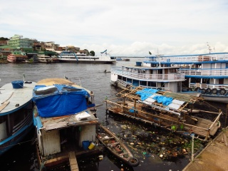 The raft has arrived, parked on the quay in Manaus. I love the beaten-up look of it in this shot, it really did deliver the adventure from the very beginning.