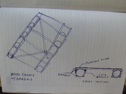 Our first sketch, of how to make the frame.