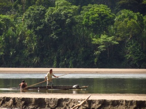 "In the shallow areas of the Napo, the locals could navigate their ""cascos"" with a long stick."
