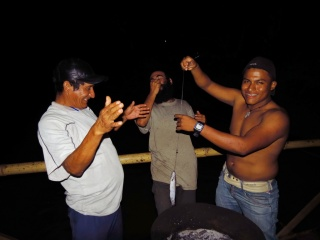 Santana, Peycho and Santanas son, Paul. Caught lots of these small fish, but they are hardly worth cooking.