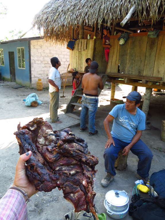 My Xmas expedition with Santana: I managed to buy this piece of cured meat from a jungle boar.