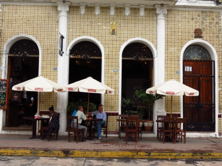 Street cafe in colonial architecture.