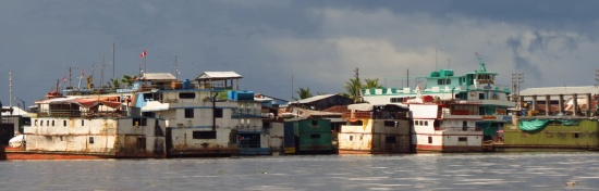 Boats are occupying the waterfront of Iquitos for kilometers on end
